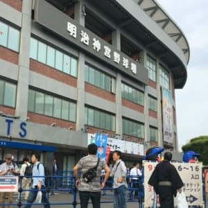 Meiji-jingu baseball stadium (From Gaienmae Station)